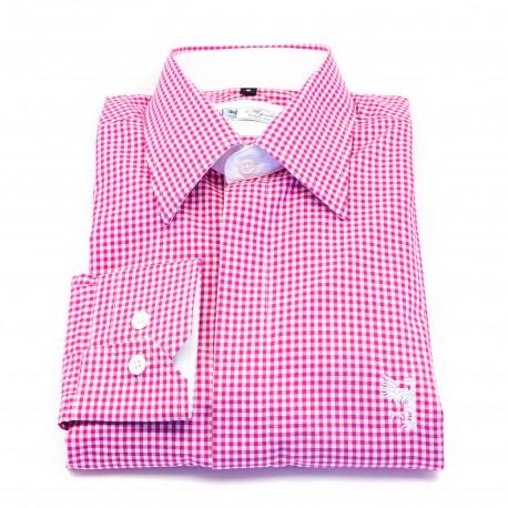 Chemise à carreaux fushia