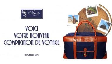 Sac de voyage AQUILA Paris en cuir et toile