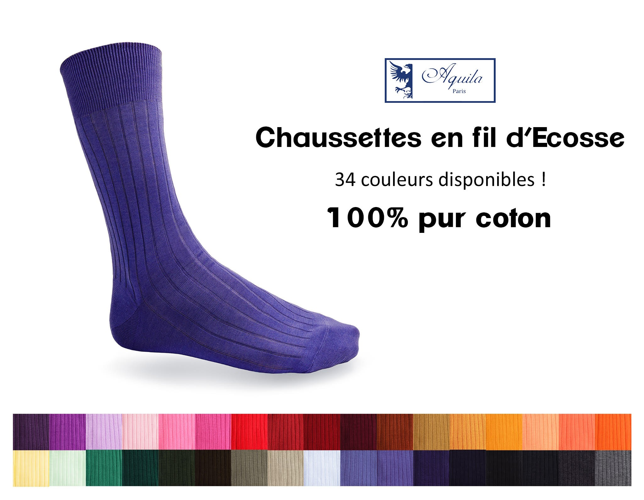 34 Couleurs de chaussettes en fil d'Ecosse disponibles !