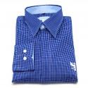 Chemise Bleue à Carreaux Blancs