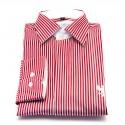 Chemise Rayée Rouge (col blanc)