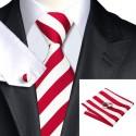 Cravate CLUB ROUGE + Pochette + Boutons