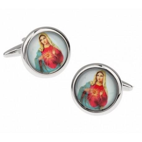 Boutons de manchettes représentant le Coeur Sacré de Marie